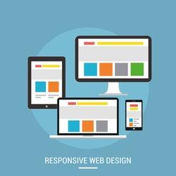 Responsive web design concept website development devices. Laptop, desktop, tablet and mobile phone
