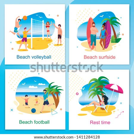 Rest and Active Time on Beach Cartoon Cards Set. Volleyball, Football, Surfside and Resting Zone. Summer Vacation and Recreation Outdoors. Vector Active People Having Fun Isolated Illustration