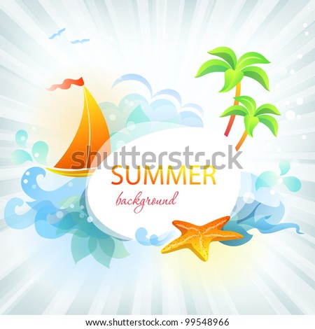 Rest and travel colorful frame: eps10 vector background