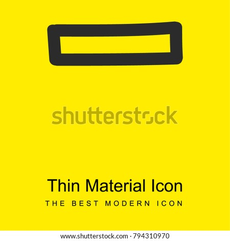 Rest hand drawn minus sign outline bright yellow material minimal icon or logo design