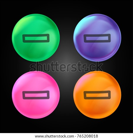 Rest hand drawn minus sign outline crystal ball design icon in green - blue - pink and orange.