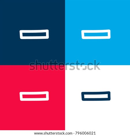 Rest hand drawn minus sign outline four color material and minimal icon logo set in red and blue