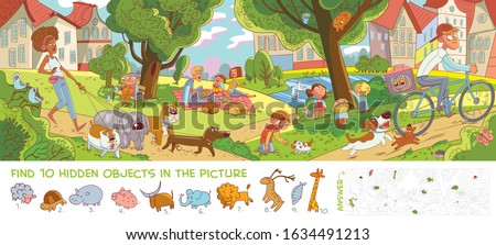 Rest in city park. Panorama. Find 10 hidden objects in the picture. Puzzle Hidden Items. Funny cartoon character. Vector illustration