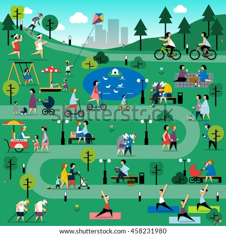Rest in the park infographic elements . Vector flat illustration