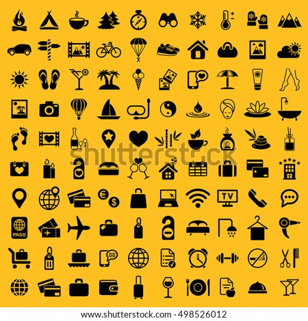 rest restaurant travel tourism camping expedition hotel summer 100 icon big black simple vector icons set on yellow background