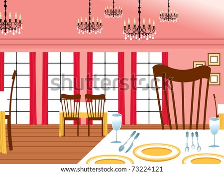 Interior Of Restaurant Vector - Download Free Vector Art, Stock ...