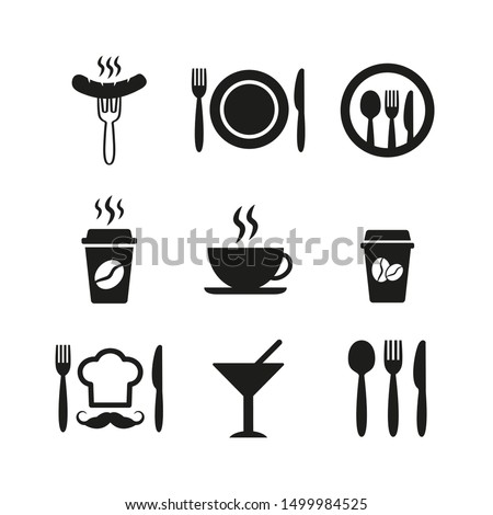 Restaurant and cafe icons set on white background.
