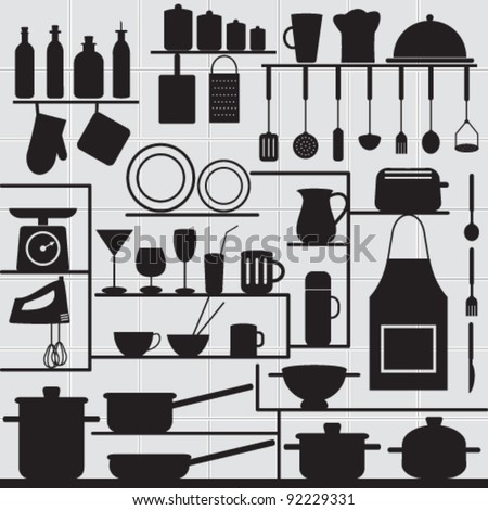Restaurant and kitchen related symbols on tiled background 1 Silhouettes of kitchen objects on gray tiled wall.