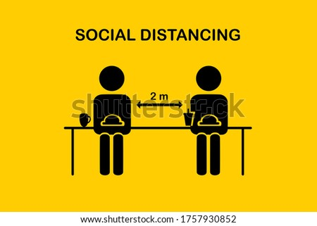 Restaurant and social distancing concept.People sitting in restaurant eating food with table seating arrangements in Canteen.Keep Safe Distance 2 meter.New normal icon vector.Flat Sign and symbol. Stock photo ©