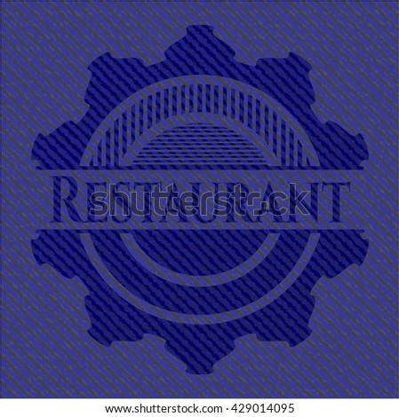 Restaurant badge with denim texture