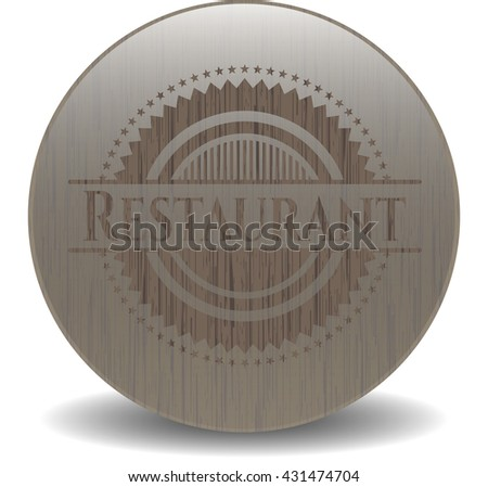 Restaurant badge with wood background