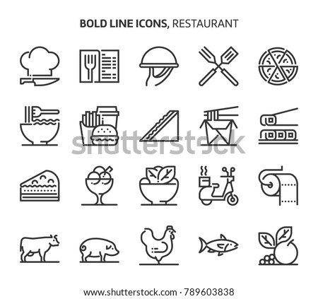 Restaurant, bold line icons. The illustrations are a vector, editable stroke, 48x48 pixel perfect files. Crafted with precision and eye for quality.