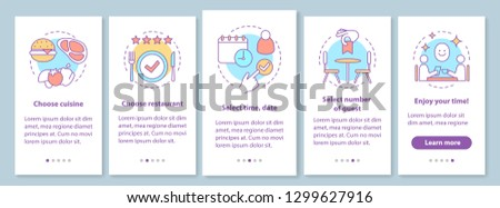 Restaurant brochure template layout. Event guest cafe meal. Cuisine menu. Flyer, booklet print design with linear illustrations. Vector page layouts for magazines, annual reports, advertising posters
