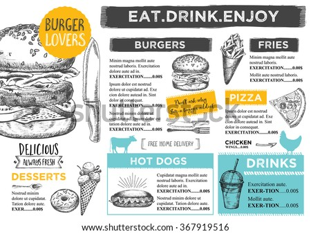 restaurant brochure vector