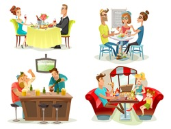Restaurant cafe bar 4 colorful pictures square with football fans family diner and dating couple abstract vector illustration