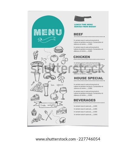 Restaurant cafe menu template design.Vector illustration