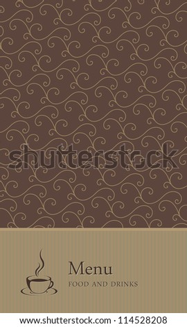 Restaurant/cafe or other dining establishment menu design. With coffee cup element. Vector. Brown
