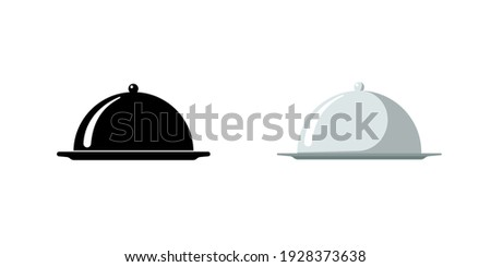 Restaurant cloche. Cafe food serving tray icon set. Covered dish symbol black and silver on white background. Food platter serving signs. Vector isolated illustration ストックフォト ©