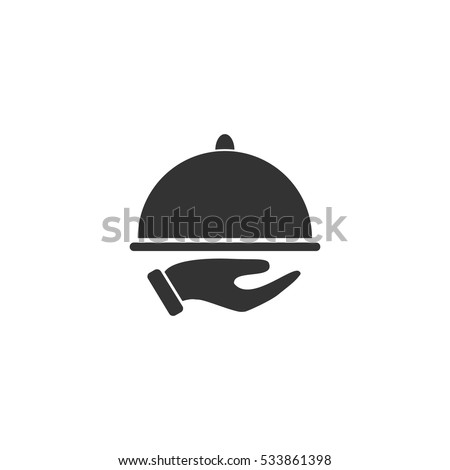 Restaurant cloche in hand the waiter icon flat. Illustration isolated on white background. Vector grey sign symbol