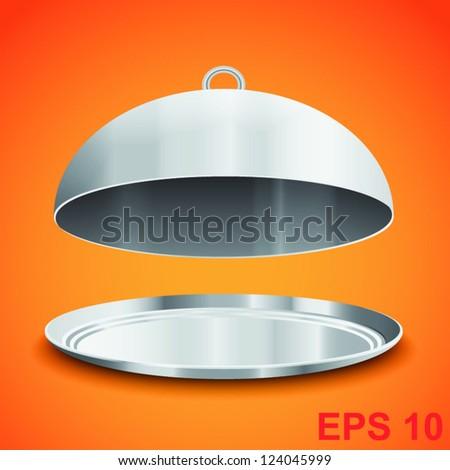 Restaurant cloche. Vector illustration - stock vector