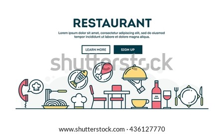 Restaurant, colorful concept header, flat design thin line style, vector illustration
