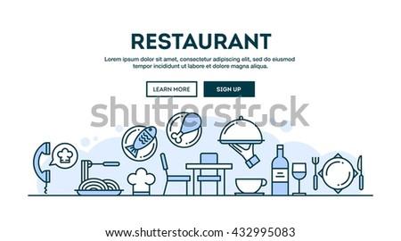 Restaurant, concept header, flat design thin line style, vector illustration