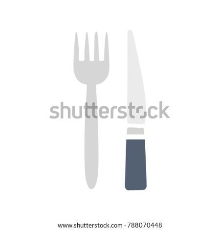 restaurant cutlery vector - illustration of fork and knife