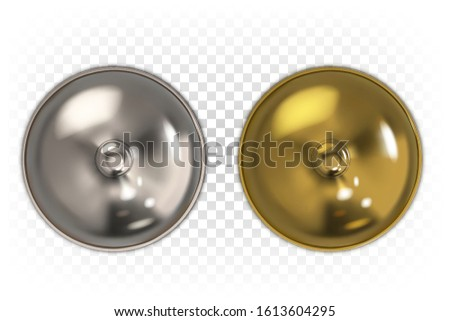 Restaurant dome for serving dishes of gold and silver color isolated on a white transparent background. Top view. 3d realistic illustration. Сlosed cloche. Stockfoto ©