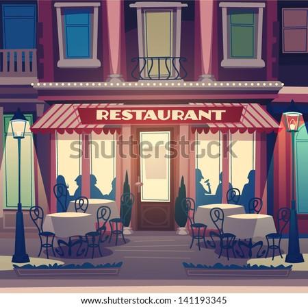 restaurant facade retro style