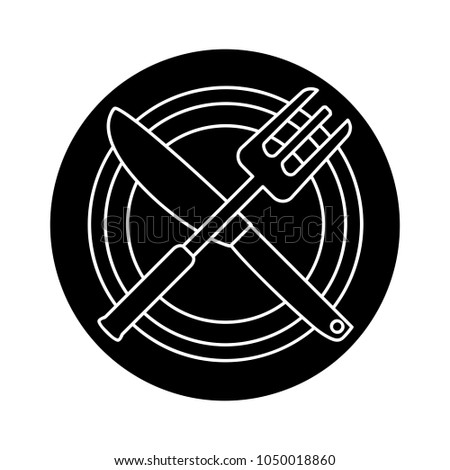 restaurant flat icon, fork and knife illustration - dining symbol
