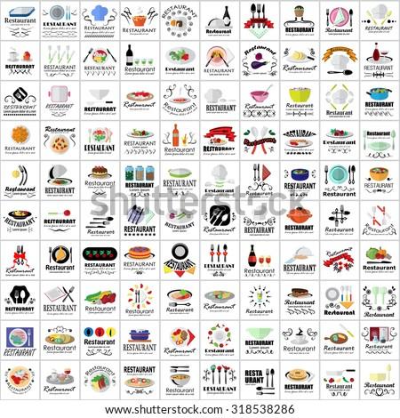 restaurant flat icons set