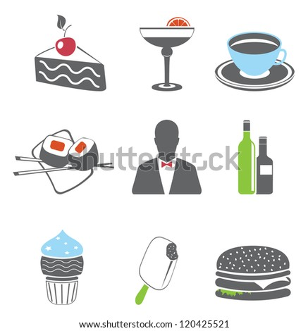 Restaurant. Food icons. Vector set
