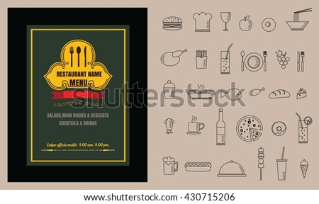 Restaurant Food menu on chalkboard vector format eps10