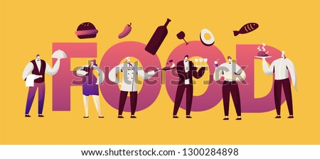 Restaurant Food Waitress Character Typography Banner. Cafe Man in Uniform Cook French Menu Cuisine. Hotel Bar Staff People Serving Design for Print Horizontal Poster Vector Flat Cartoon Illustration