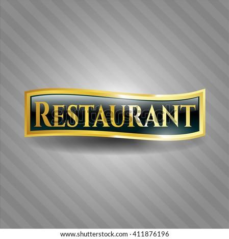 Restaurant gold shiny badge