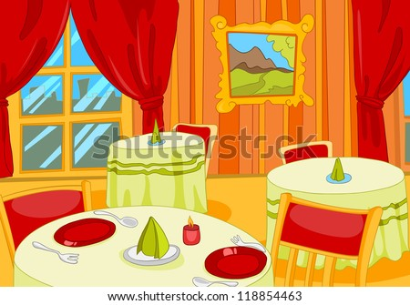 Restaurant Hall. Cartoon Background. Vector Illustration EPS 10.