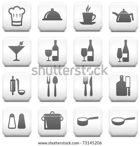 Restaurant Icon on Square Black and White Button Collection Original Illustration
