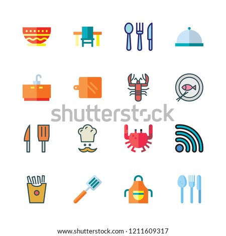 restaurant icon set. vector set about chef, lobster, cutlery and spatula icons set.