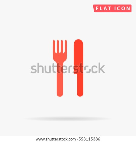 Restaurant Icon Vector. Flat color symbol on white background with shadow
