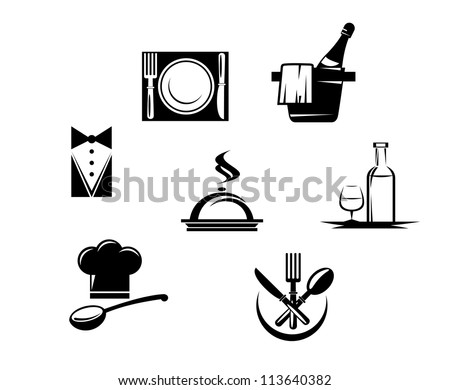 Restaurant icons and menu elements for design, such a emblem template. Jpeg version also available in gallery