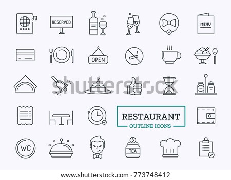 Restaurant Icons in Thin Line style. Vector elements set.