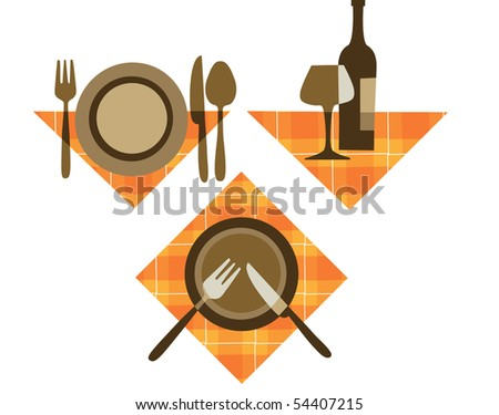 restaurant icons of different tableware