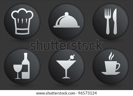 Restaurant Icons on Black Internet Button Collection Original Illustration