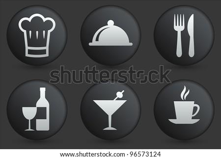 Restaurant Icons on Black Internet Button Collection Original Illustration