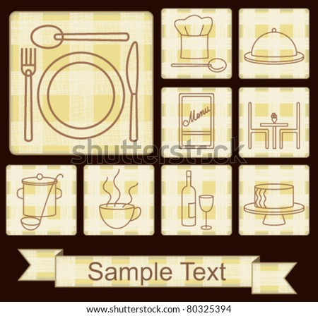 Restaurant icons set on plaid beige background