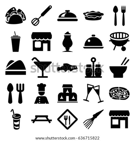 Restaurant icons set. set of 25 restaurant filled icons such as dish, fork and spoon, cocktail, drink, taco, asian food, milkshake, pizza, pie, wine glass, bbq, shop, chef