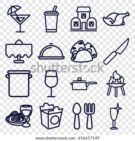 Restaurant icons set. set of 16 restaurant outline icons such as restaurant table, fork and spoon, cocktail, clean wine glass, taco, take away food, pasta and wine glass