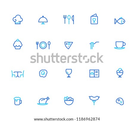 Restaurant icons, simple line set