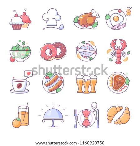 Restaurant icons, thin line color set
