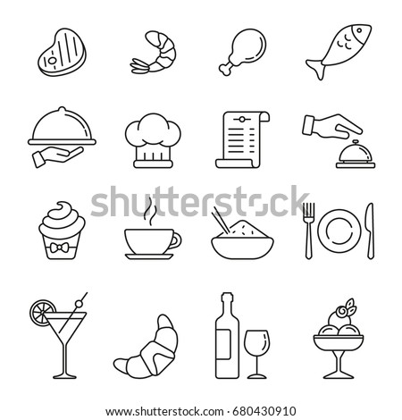 Restaurant icons: thin monochrome icon set, black and white kit